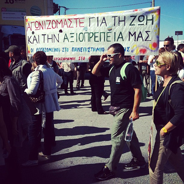 Street demonstrations in Heraklion, Crete #Greece