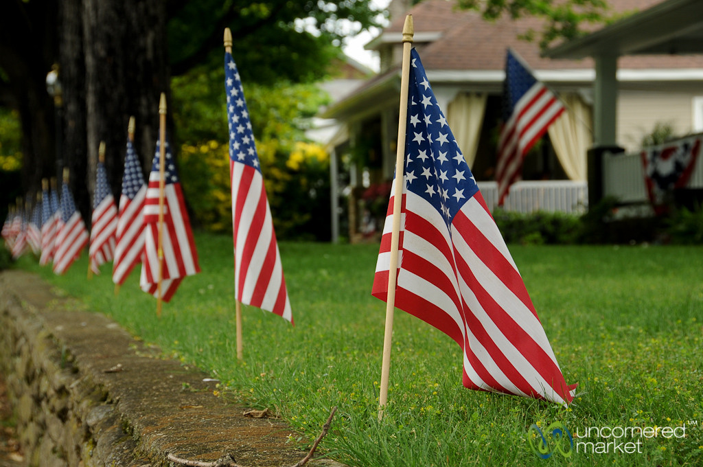 American Flags on the Yard - Black Mountain, North Carolina