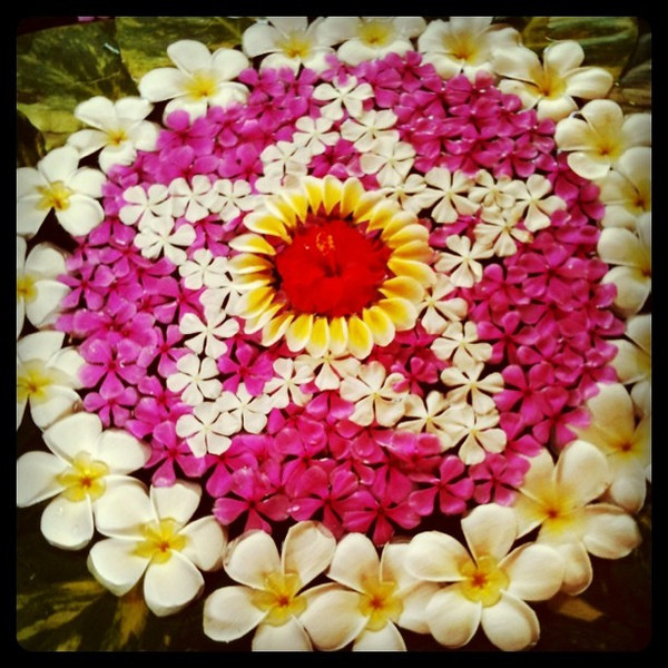 Balinese flower art - what a great way to start a morning. Bali, Indonesia