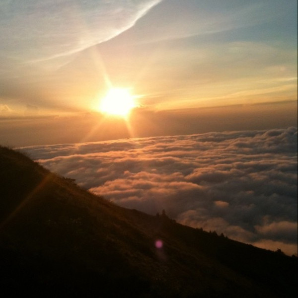 Watching sun rise from above clouds - atop Mt Batur, Bali