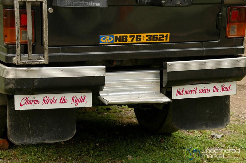 Wise Words on the Bumper - Darjeeling, India