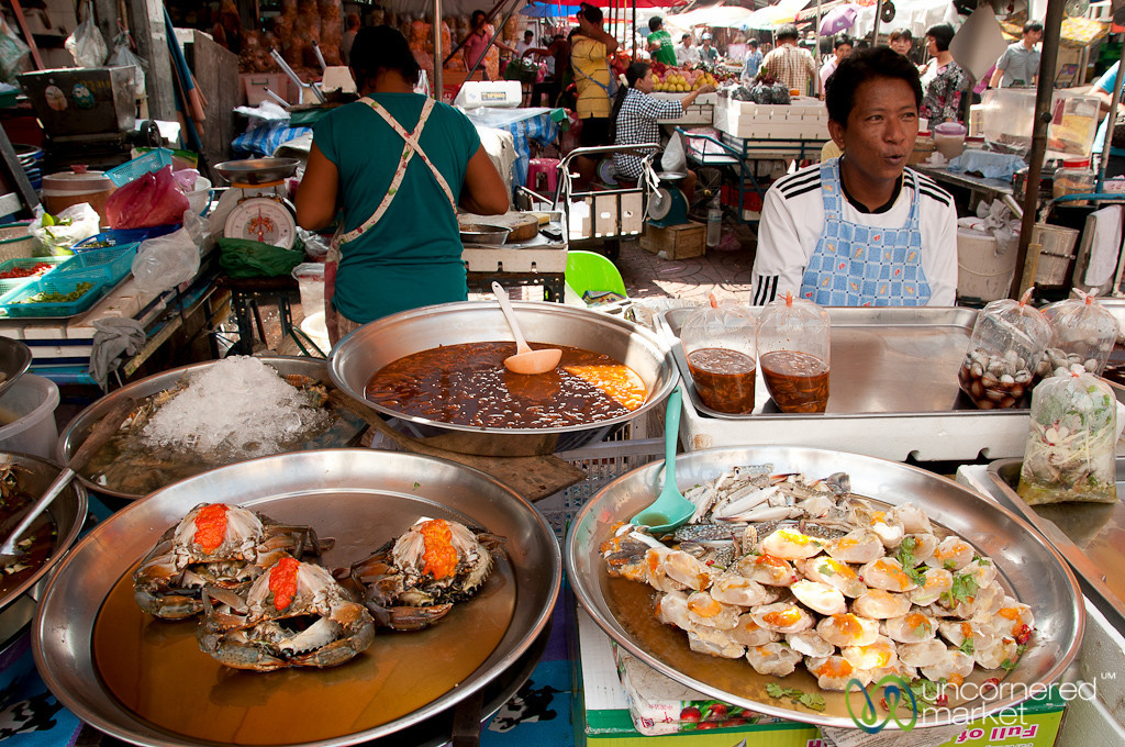 Lots of Seafood Choices on the Streets of Bangkok, Thailand