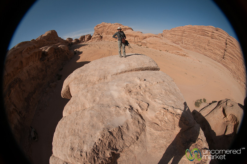 Standing on the Rock Bridge at Wadi Rum in Jordan
