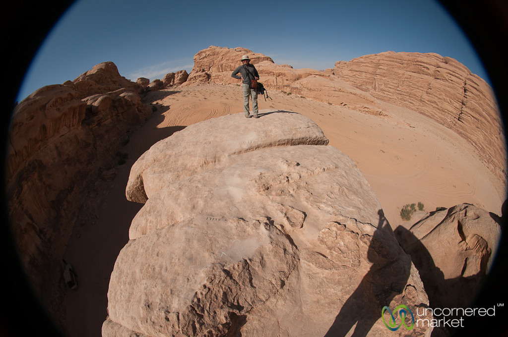 Standing on the Rock Bridge at Wadi Rum in Jordan