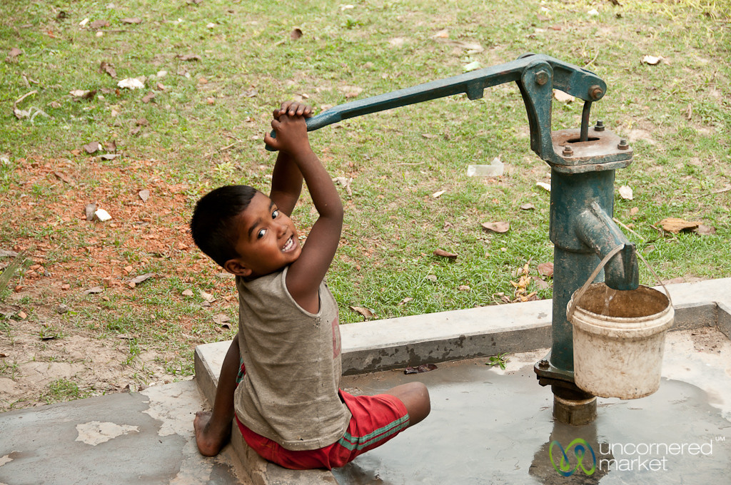 Kid Pumping Water - Puthia, Bangladesh