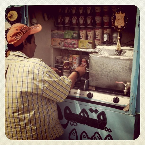 Best coffee in Aqaba at Um Ahmed (mother of Ahmed coffee stand) - #JO #dna2jordam