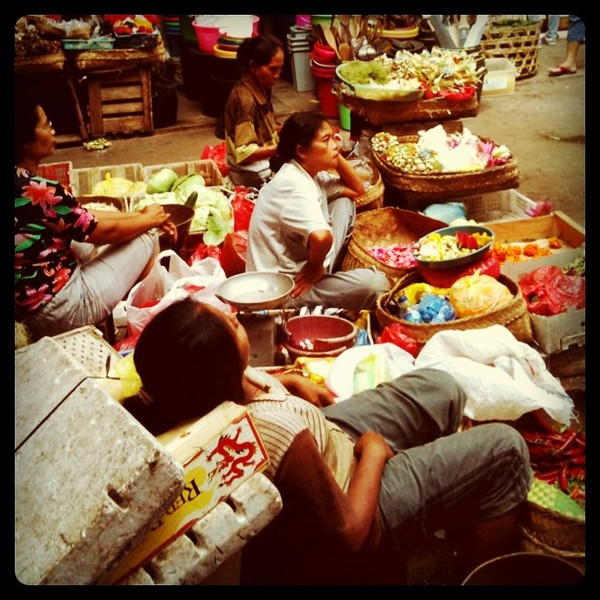 Taking a morning rest at Ubud market - Bali, Indonesia