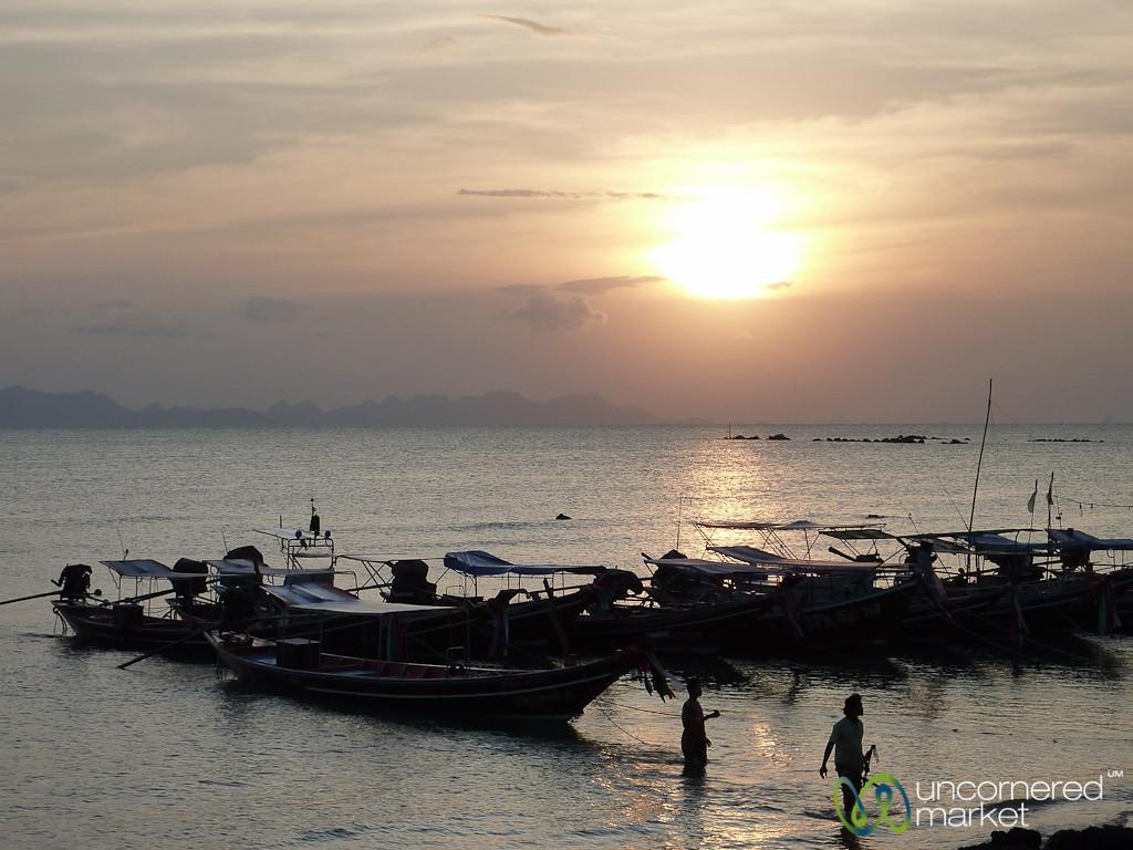Sun Sets Over Fishing Boats on Koh Samui - Thailand