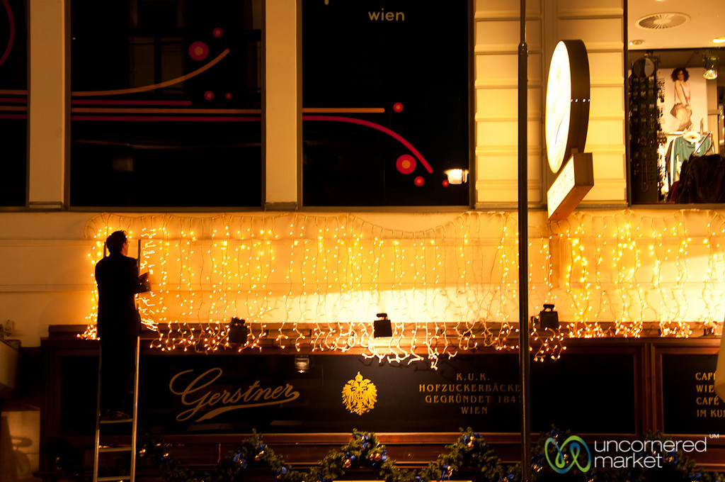Putting Up the Christmas Lights - Vienna, Austria