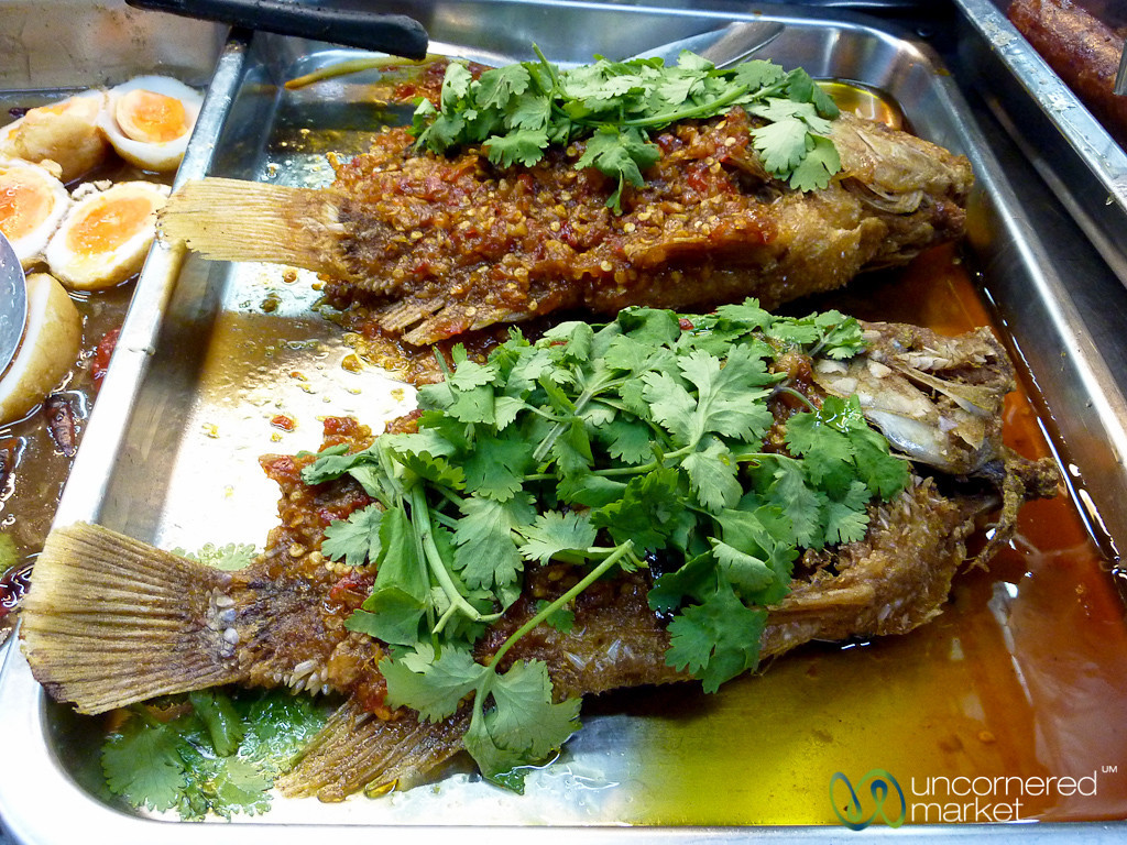 Spicy Grilled Fish on the Streets of Bangkok, Thailand