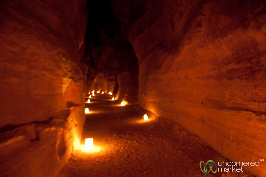 Candle Lit Walking Path to Petra - Jordan