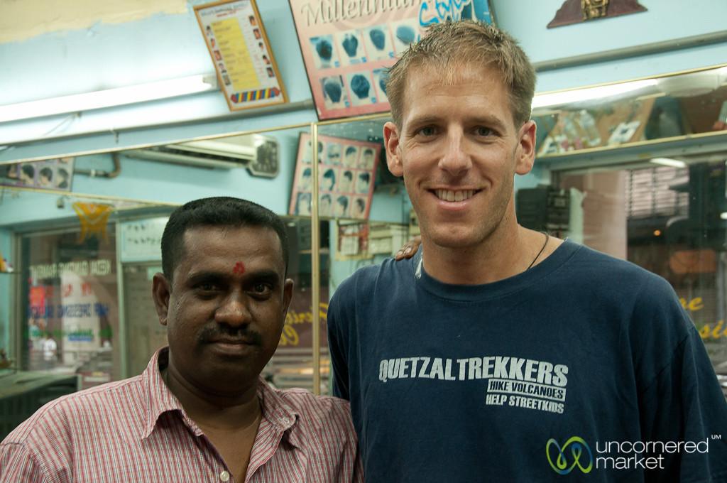 Friendliness at an Indian Barber - Kuala Lumpur, Malaysia