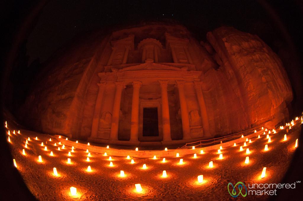 Fisheye View of Petra at Night - Jordan