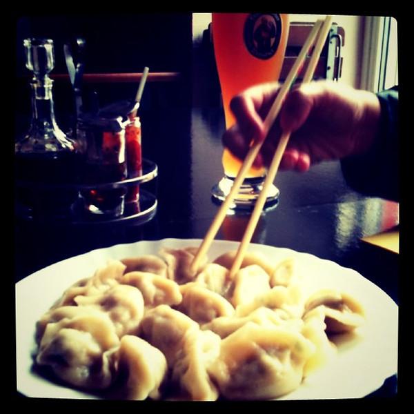 Dumplings!! Big plate of jiaozi at Wok Show - Prenzlauerberg, #berlin