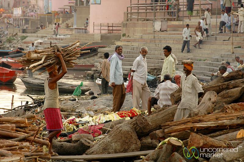Carrying Wood at the Manikarnika Ghat - Varanasi, India