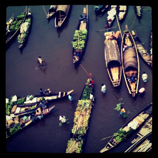 Market day in Bandarban, Bangladesh - boats trading on river