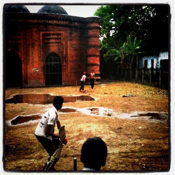 Cricket at 15th century mosque - Bagerhat, Bangladesh