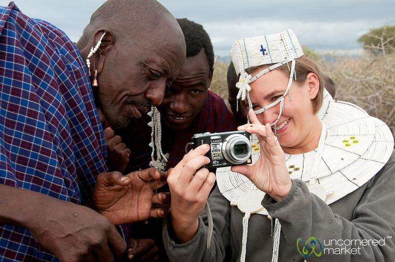 Masai Men Interested in Our Photos - Lake Manyara, Tanzania