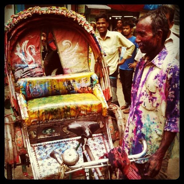 Rickshaw driver meets Holi celebrations in old Dhaka