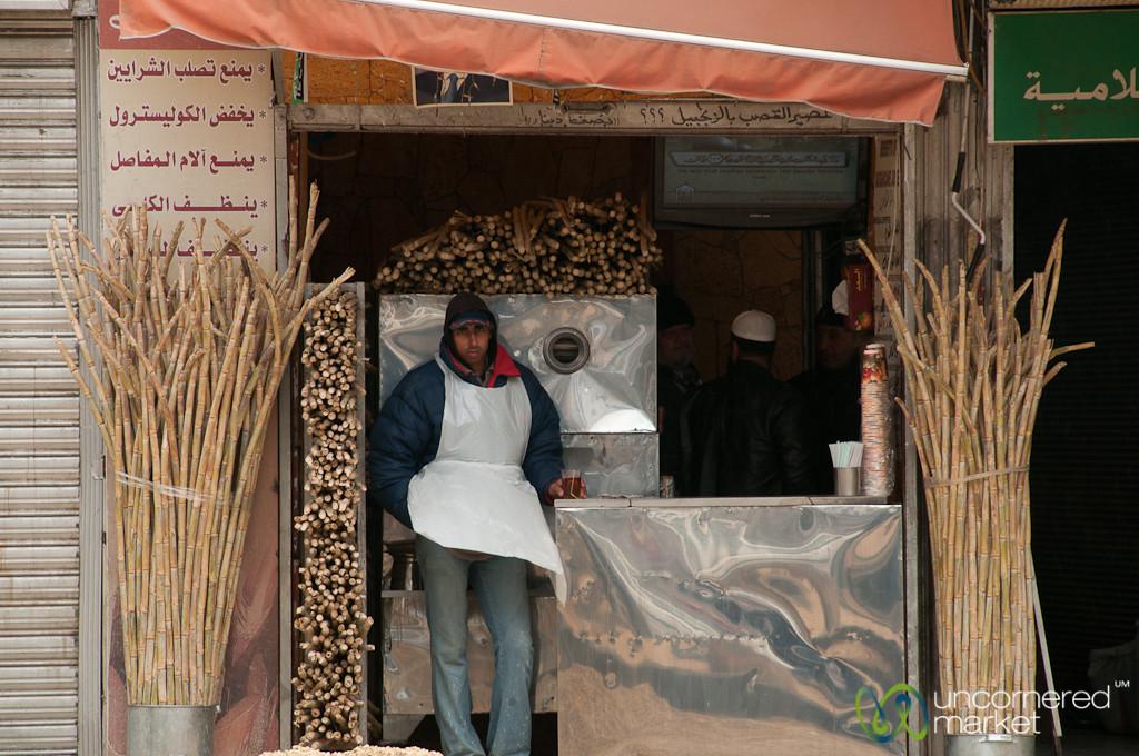 Sugar Cane Juice Stand in Downtown Amman, Jordan