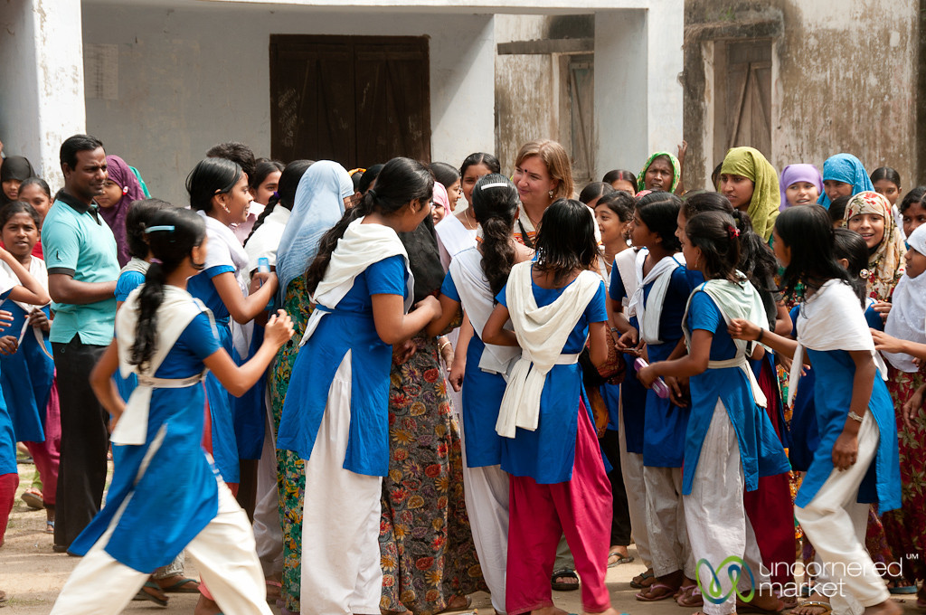 Audrey Surrounded by Students - Hatiandha, Bangladesh