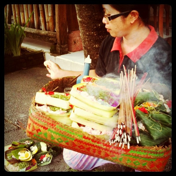 Morning offerings in Bali