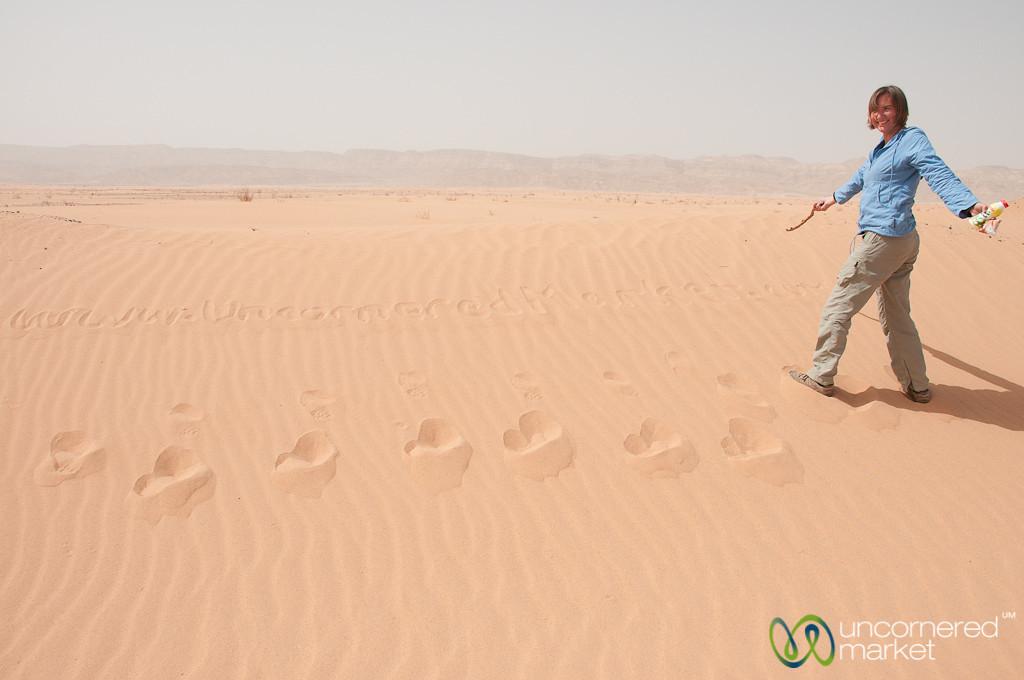 Writing Our Website in the Sand - Wadi Araba, Jordan