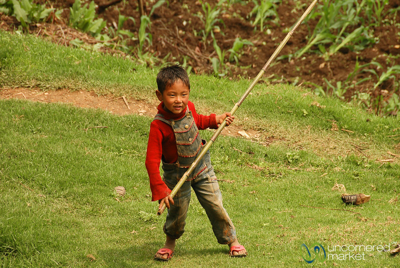 Small Boy, Big Stick - Pelling, Sikkim
