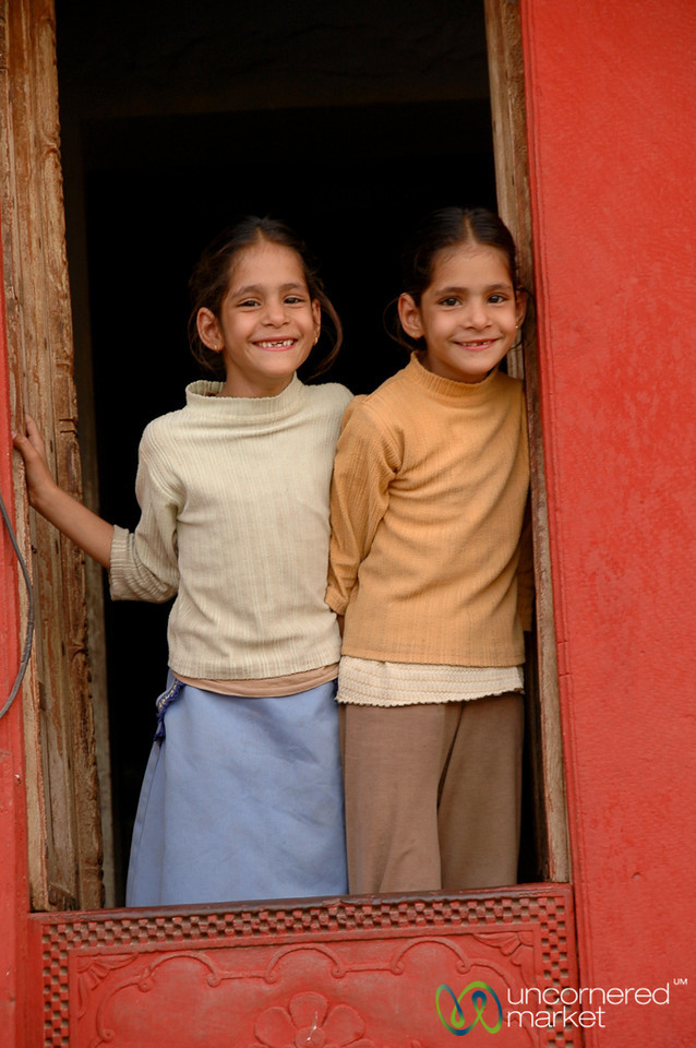 Cute Grins from the Window - Bikaner, India