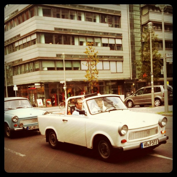 Trabbies take over streets of #berlin. Good old days of DDR Trabants.