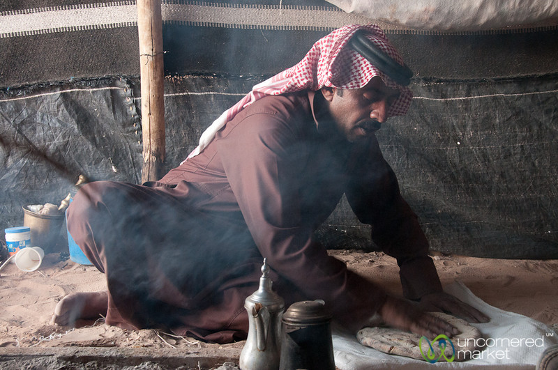 Shaking Ashes from the Abud (Bedouin Bread) - Wadi Rum