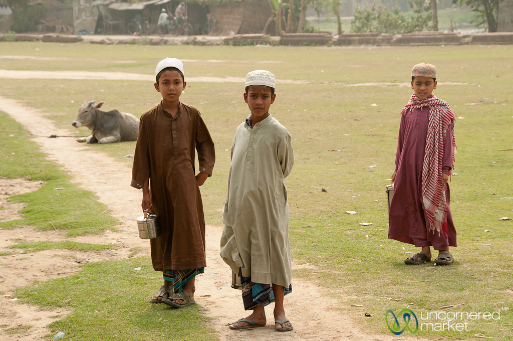 Muslim Boys with Tiffin Containers for Lunch - Puthia, Bangladesh
