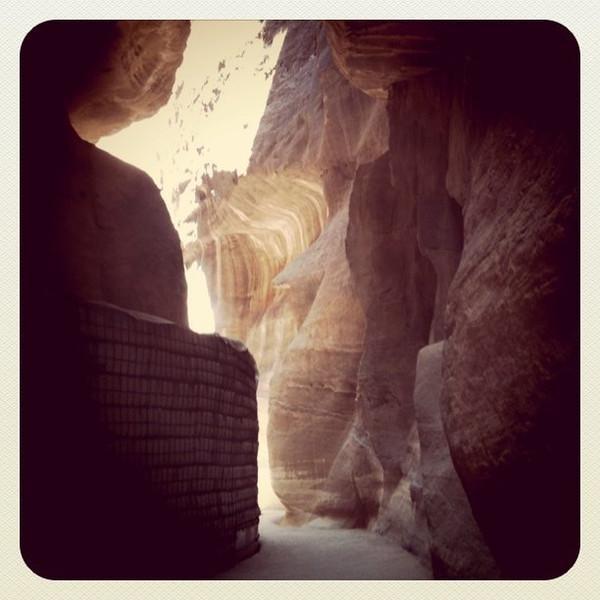 Walking through Siq to Petra, Jordan