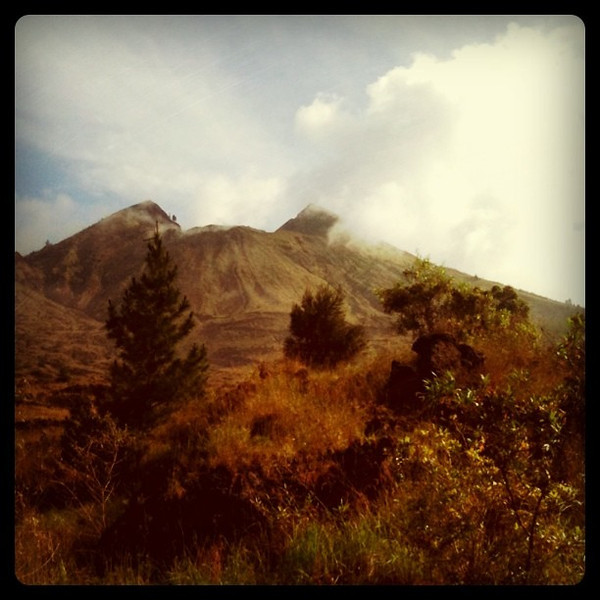 Looking back on volcano we just climbed. Feels good. Mt Batur, Bali