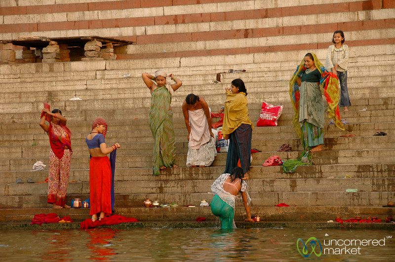 Morning Bathing and Puja (Prayers) Along the Ganges - Varanasi, India