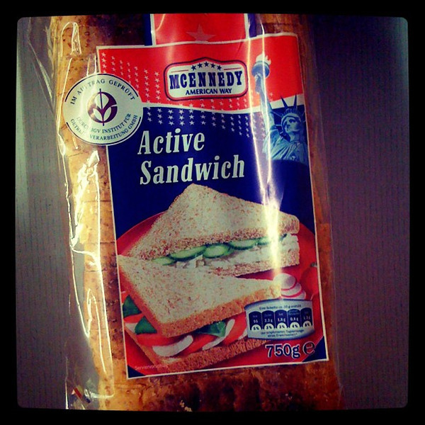 """""""Active Sandwich"""" bread - see at the store tonight. Heaven knows we don't want inactive sandwiches. #Berlin"""