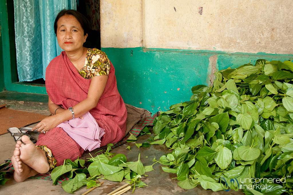 Woman and Betel Leaves in Khashia Village - Outside Srimongal, Bangladesh