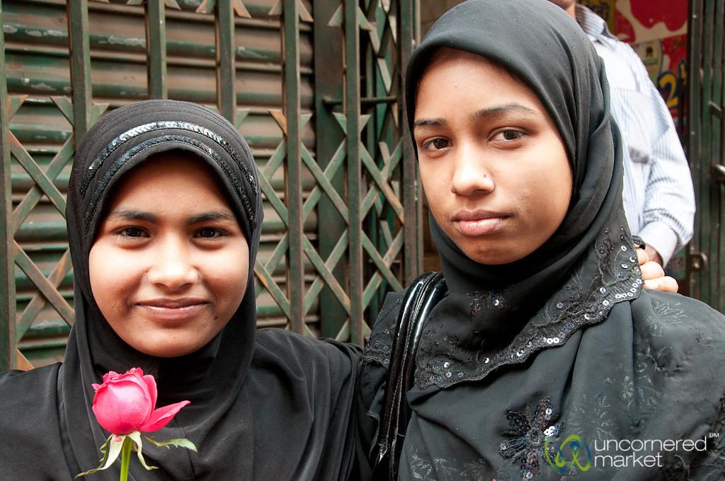 Friends Walking Through Shakhari Bazar - Old Dhaka, Bangladesh