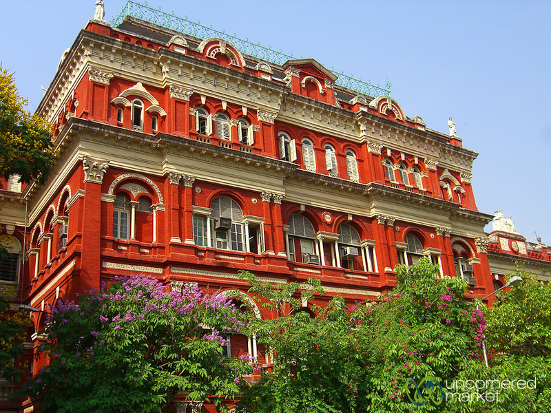 Brightly Painted Colonial Building - Kolkata, India