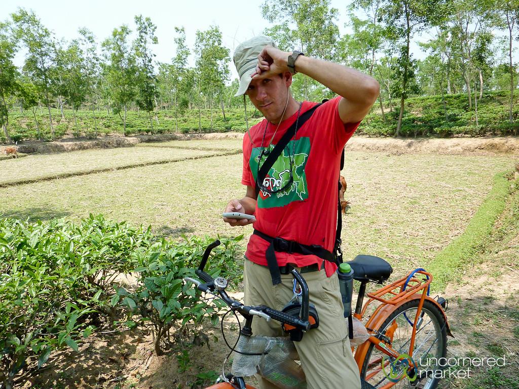 Dan Checks Google Maps on iPhone - Madhabpur Lake, Bangladesh