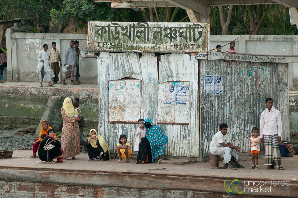 Women and Children Wait for Boat - Bangladesh