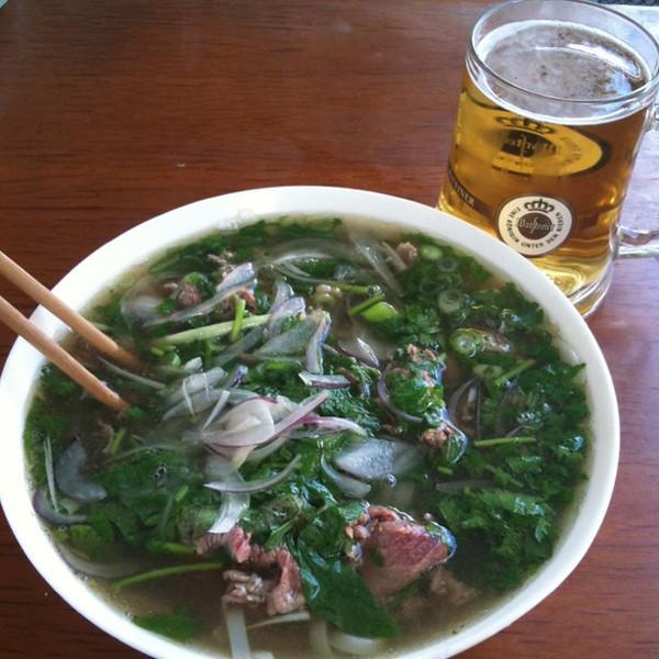 Steaming bowl of pho ga (beef Vietnamese soup) at Don Xuan Center, #berlin