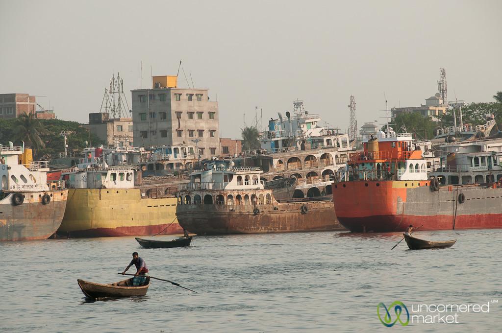 Rowboats and Big Ships at Sadarghat - Dhaka, Bangladesh