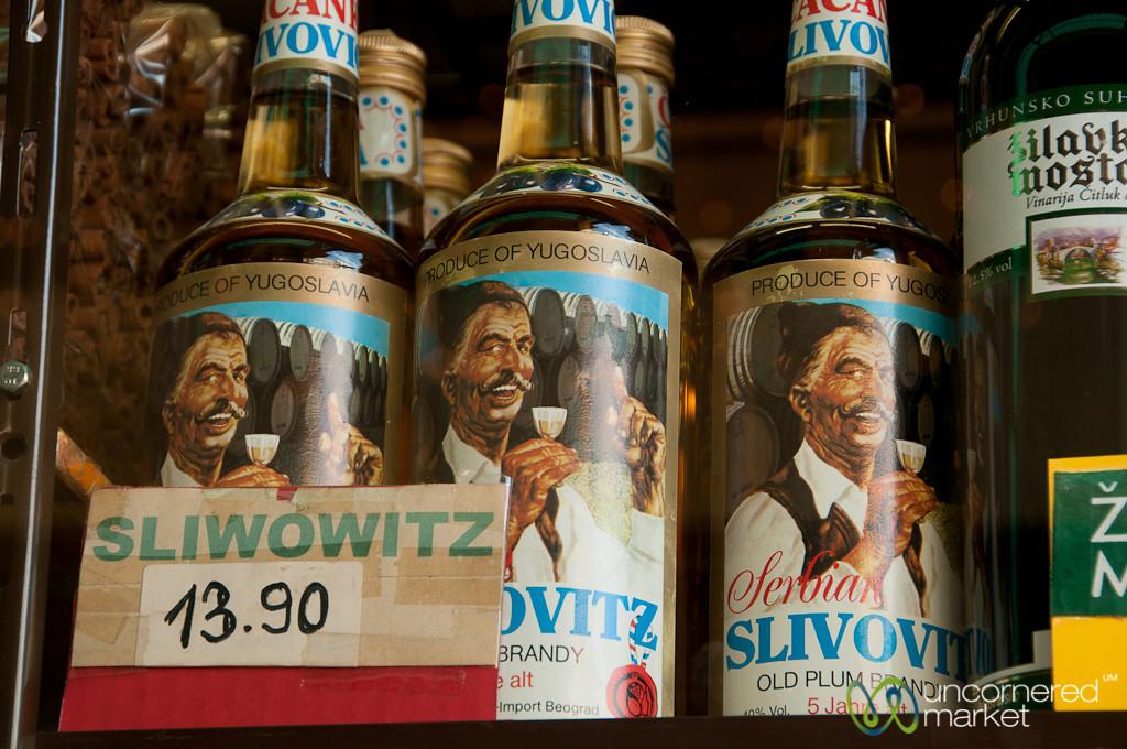 Humorous Servian Slovovitz - Naschmarkt in Vienna, Austria