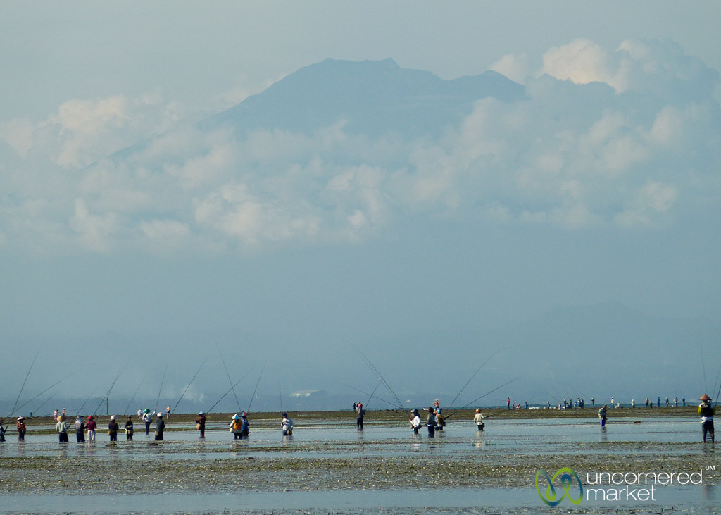 Fishing Below Volcano - Sanur, Bali