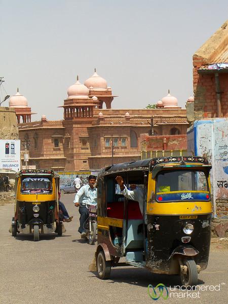 Rickshaws in Front of the Fort in Bikaner, India