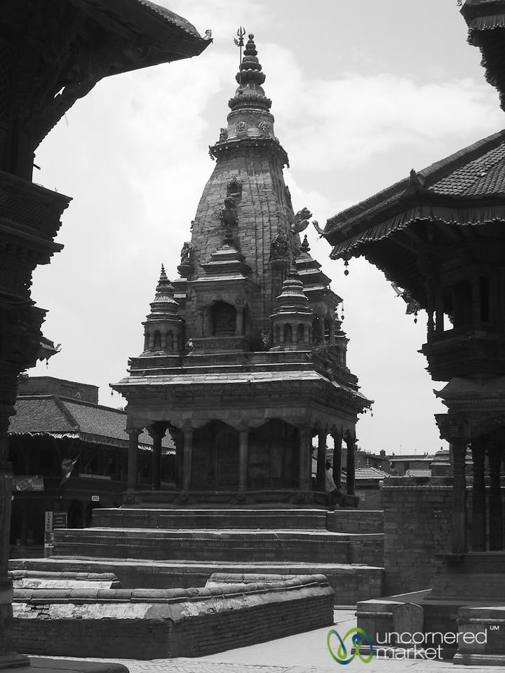 Taumadhi Square in Black and White -  Bhaktapur, Nepal