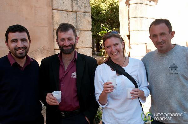 Enjoying Wine at Arkadi Monestary - Crete