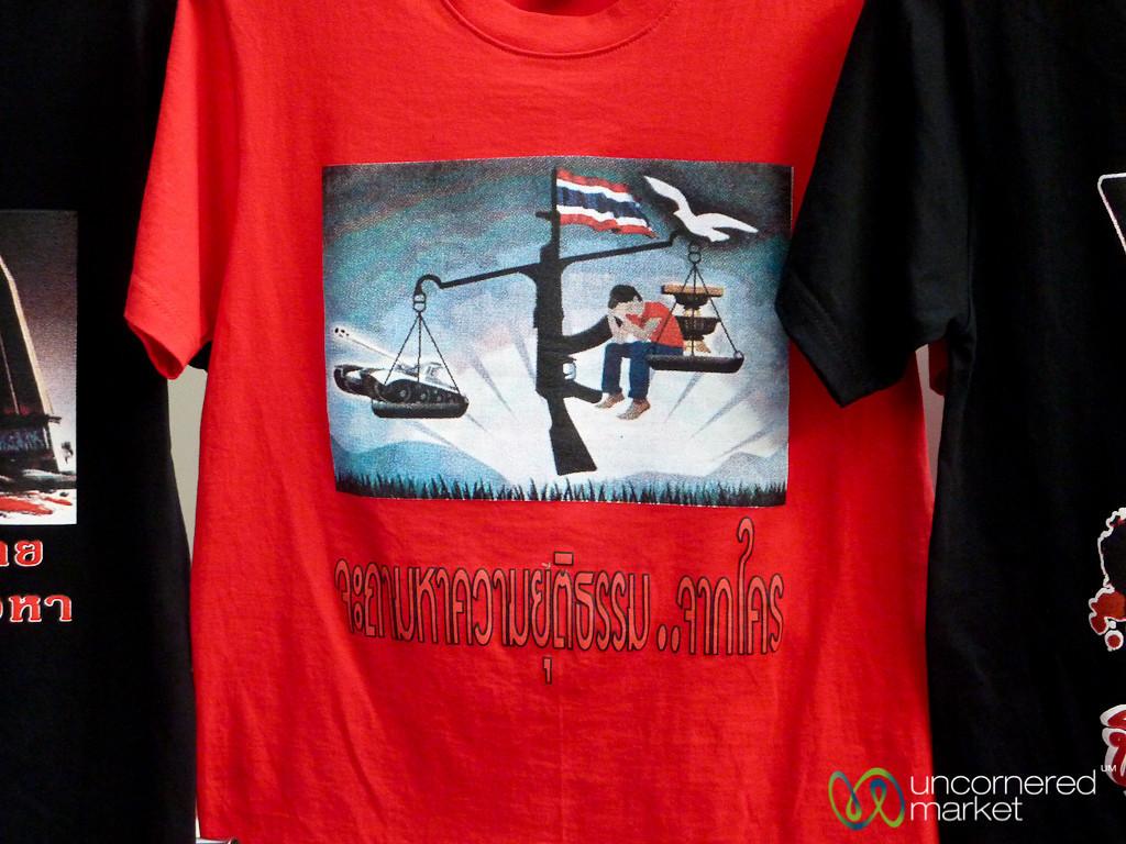 Red Shirts Political Statement on T-shirts - Bangkok, Thailand