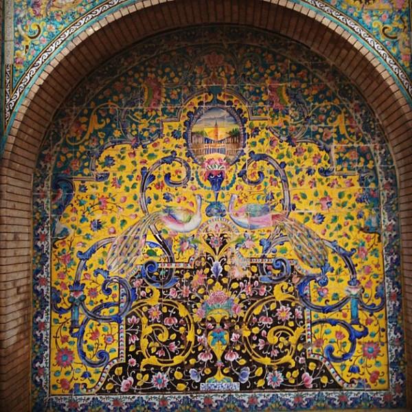 Peacocks & flowers, tilework designs at Golustan Palace, Iran. #wir #gadv #dna2iran